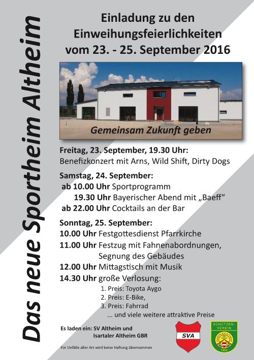 Einladung Einweihung des neues Sportheim und Sportplatzfest