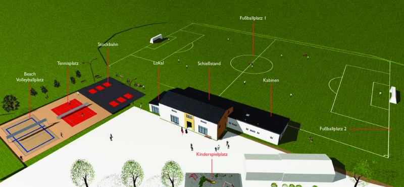 Bauplan des Sportheims